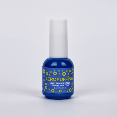 Aeropuffing No Cleanse Rubber LED Gel Top Coat, 8 ml.